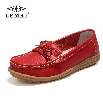 Shoes Woman 2017 Genuine Leather Women Shoes Flats 4Colors Loafers Slip On Women's Flat Shoes Moccasins #WD2856