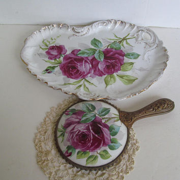 Porcelain Rose Vanity Tray Hand Held Vanity Mirror Victorian Romantic Home Decor Bedroom Vanity Decor French Bathroom Decor Antique Mirrors