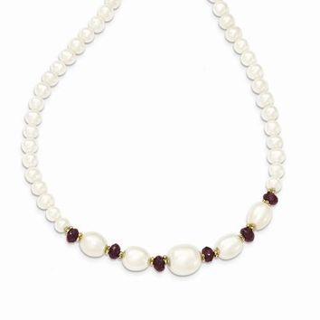 14K Yellow Gold Fresh Water Cultured Pearl and Faceted Garnet Bead Necklace