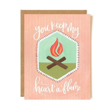 You Keep My Heart A Flame Patch Card