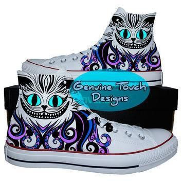 hand painted converse hi sneakers cheshire cat fanart cat shoes custom handpainted