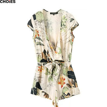 2016 Women Beige Short Cap Sleeve Floral Leaves Print Ruffled Summer Fashion Deep V Neck Short Sexy Playsuit