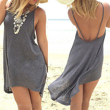 ≫∙∙Summer Boho Mini Grey Beach Dress Sundress ∙∙≪