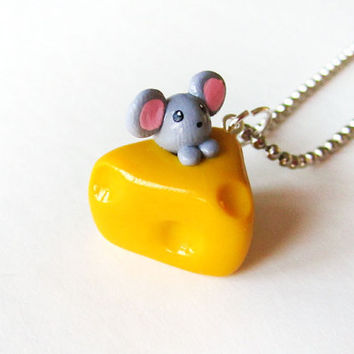 Little Mouse and Cheese Necklace by MadAristocrat on Etsy