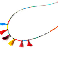 Multi Tassel Necklace - Seed Bead Necklace - Summer Necklace - Colorful Beaded Necklace - Hippie Necklace - Layering Necklace