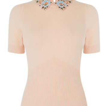 EMBROIDERED COLLAR KNIT