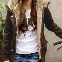 Fur Hoodie Long-Sleeve Zipper Jacket