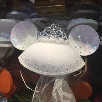disney parks character ears wedding bride hat adult size new with tags