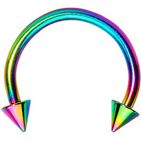 16 Gauge Rainbow Titanium Spike Horseshoe Circular Barbell 3/8"