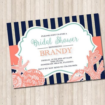 Seashell burlap stripe invitation in coral and mint for a bridal baby shower or party