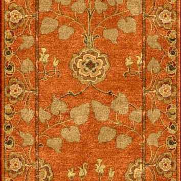 Jaipur Rugs Classic Arts And Crafts Pattern Orange/Green Wool Area Rug PM57 (Runner)