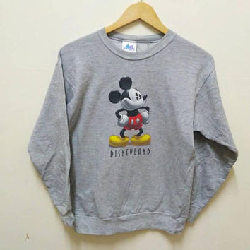 Hey Mickey Hey Mouse big logo sweatshirt jumper pullover Disneyland popular cartoon