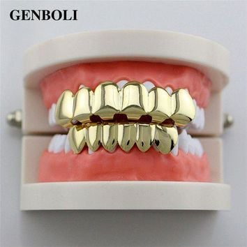 ac DCCKO2Q GENBOLI Hip Hop Silver Gold Teeth Grillz Top Bottom Grills Set with Silicone Dental Caps Vampire Body Jewelry banhado a ouro New
