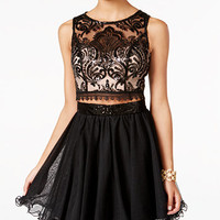 As U Wish Juniors' 2-Pc. Sequined Lace Fit & Flare Dress | macys.com
