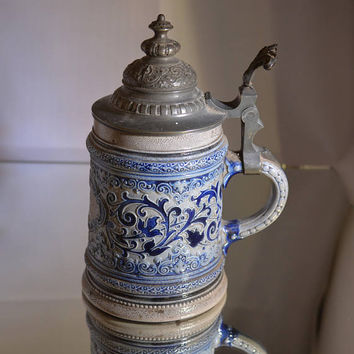 Antique West German Beer Stein/Marzi and Remy/cobalt blue and grey, pewter lid /1880-1940/stunning item perfect condition ships worldwide