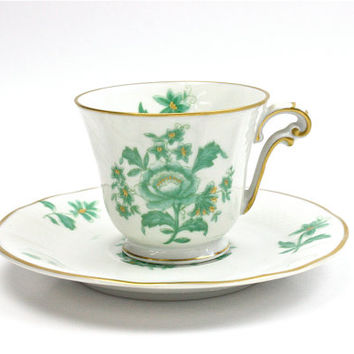 Bernardaud Limoges Demitasse Cup & Saucer / Langeais Pattern / Mint Green and Gold / Hand Painted Fine China / c1970s