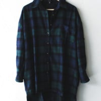 Oversized Plaid Button Down Shirt - Green/Navy