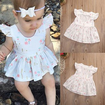 2017 New Baby Girl Summer Dresser Ruffles Sleeve Cotton Clothes Cute Bebes Heart Princess Girls Party Dress Infantil