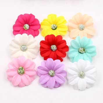 10pcs/lot 5.5cm Artificial Silk high quality sunflower flower head wedding decoration DIY wreath gift box clip art fake flowers