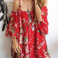 Floral Sexy Bat-wing Off Shoulder Beach Chiffon Mini Dress