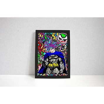 Goku Batman Cross Art Print Wall Art Painting Mural Abstract Custom Art Print