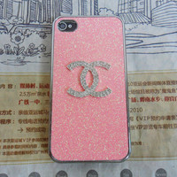 Chanel iphone 4 4S pink hard Case cover for iPhone 4 Case, iPhone 4S Case,iPhone 4 GS case ,iPhone hand  case cover  -202