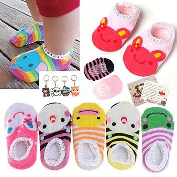5 Pairs Cute Baby Toddler Stripes Anti Slip Skid Socks No-Show Crew Boat Sock For 6-18 month