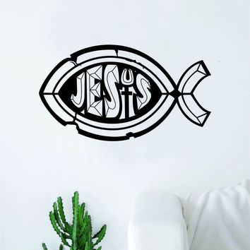 Jesus Fish Decal Sticker Wall Vinyl Art Home Decor Inspirational Kids Nursery Teen Religious God Chuch