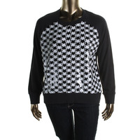 MICHAEL Michael Kors Womens Ribbed Knit Sequined Crewneck Sweater