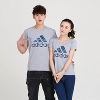 """Adidas"" Unisex Fashion Casual Letter Print Short Sleeve Cotton T-shirt Couple Shirt Top Tee"