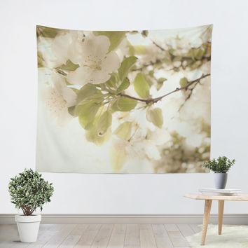 Soft White Flowers Tapestry
