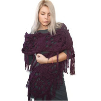 Dark purple Crochet scarf, Chunky Textured scarf, Woman long scarf, Winter fashion, Winter accessory, Scarf with fringes