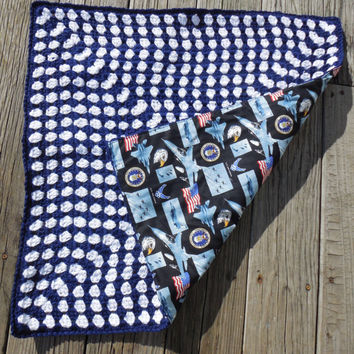 Crochet Baby Blanket, Military US Air Force, Granny Square, Reversible Crochet Baby Blanket, Cotton Fabric, 26 x 26