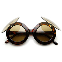 Large Round Gaga Inspired Mickey Flip Up Sunglasses 8021