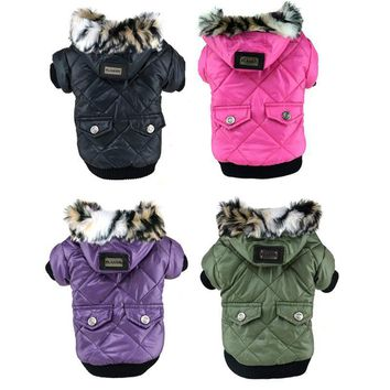 Nylon Button-up Winter Jacket With Faux Fur Hood