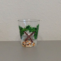 Shot Glass with Hand Painted Palm Trees