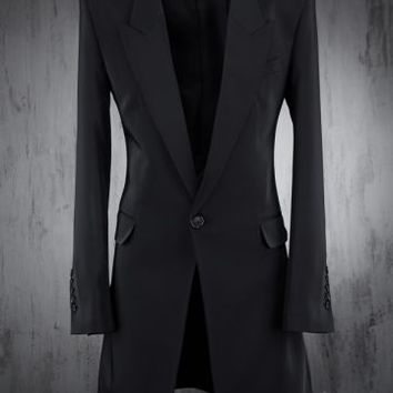 Tailored Peaked-Lapel Long Suit Blazer