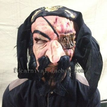 New Halloween Adult Mask Old Man Zombie Mask Bloody Scary Full Face Mask Costume Party Cosplay Props Movie Pirate Captain Mask