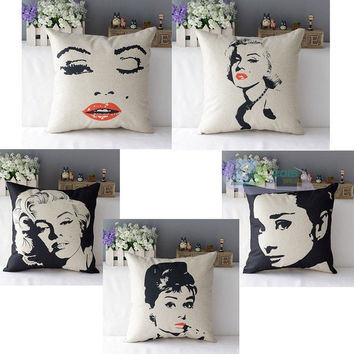 Pop Art Modern Audrey Hepburn Marilyn Printing Cotton Linen Cushion Cover Decor = 1929907460