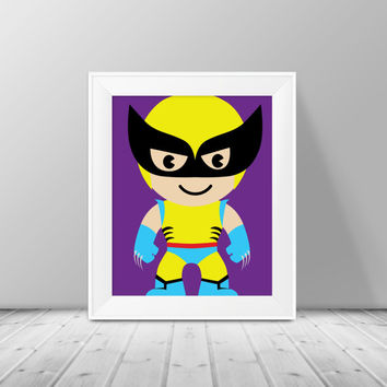 Wolverine Art -  Superhero Art, Instant Download , PRINTABLE 8x10, Kids Wall Art , Nursery Wall Art, Playroom Art
