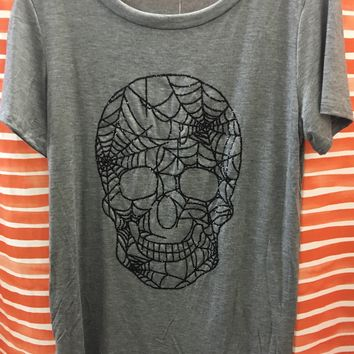 Clothing of America Spider Web Skull Graphic Top