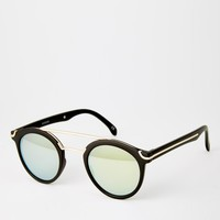 ASOS | ASOS Round Sunglasses With Metal Bridge High Bar And Flat And Flash Lens at ASOS