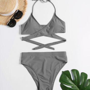 Sexy Split Solid Color Slim Triangle Bikini [1410596208676]