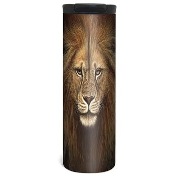 Big Cat Lion Barista Tumbler Travel Mug - 17 Ounce, Spill Resistant, Stainless Steel & Vacuum Insulated