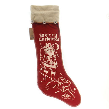 Christmas Felt Stocking With Bells Christmas Decor