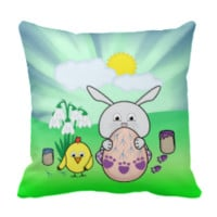 Cute Easter Bunny and chick Coloring Easter Egg Throw Pillows