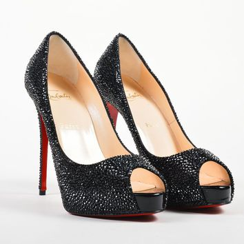 "Christian Louboutin NIB Black Strass Crystal ""New Very Riche 120"" Pumps SZ 38.5"
