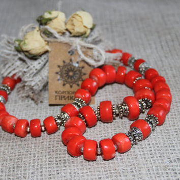 Ukrainian ethnic coral necklace Orange coral necklace Ukrainian Ethnic coral beaded necklace Big coral beads Ethnic Ukrainian jewelry KORALI