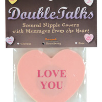 Double Talks Love You Pastie - Pink Heart W-strawberry Scent