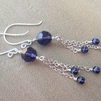 Purple Earrings Sterling Silver Crystal Long by ZorroPlateado